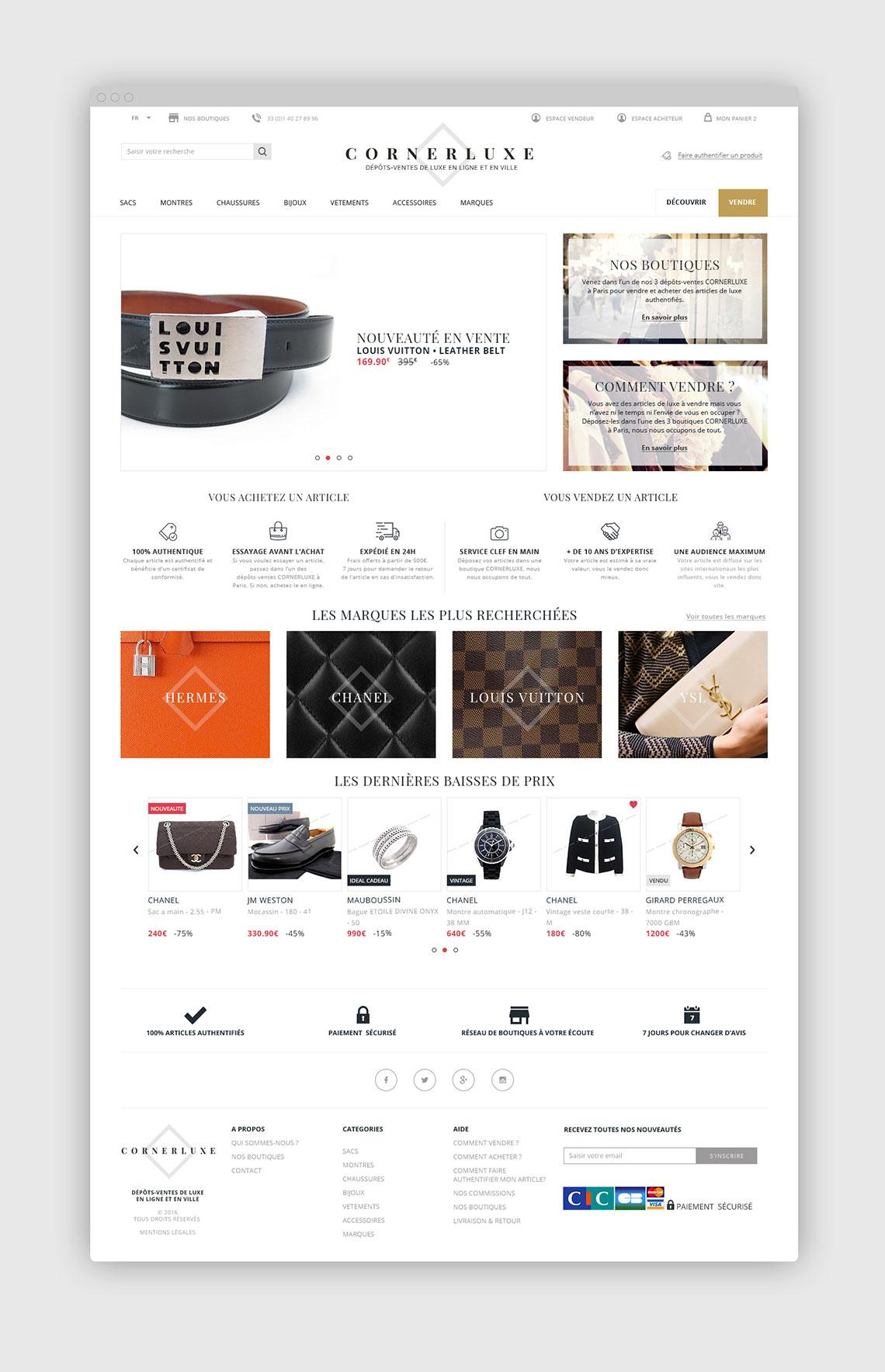 Site e-commerce pour une chaîne de dépôts-ventes spécialisés dans le luxe.